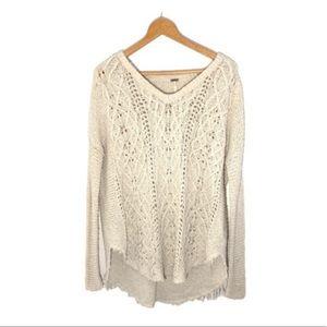 Free People Braided Deep V Neckline Sweater